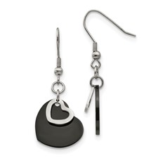 Stainless Steel Polished Black IP-plated Moveable Heart Earrings