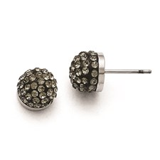 Stainless Steel Polished Black Enamel w/Crystals Post Earrings