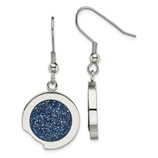 Stainless Steel Polished with Blue Druzy Stone Earrings