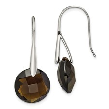 Stainless Steel Polished Dark Brown Glass Shepherd Hook Earrings