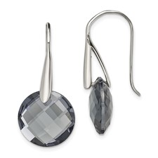Stainless Steel Polished Grey Glass Shepherd Hook Earrings