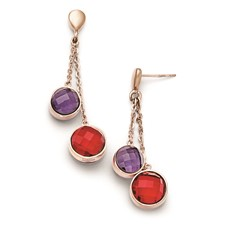 Stainless Steel Polished Rose IP-plated Glass Post Dangle Earrings