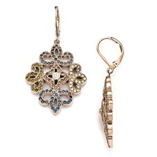 Stainless Steel Polished Rose IP-plated Crystal Lever back Earrings