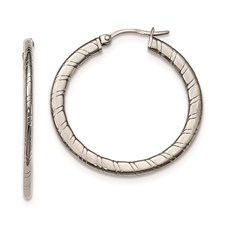 Stainless Steel Polished Textured Hoop Earrings