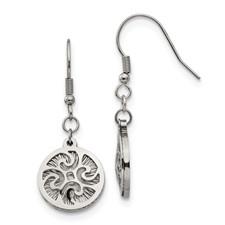 Stainless Steel Polished Textured Shepherd Hook Dangle Earrings