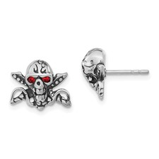 Stainless Steel Antiqued & Polished w/Red Crystal Skull Post Earrings