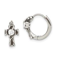 Stainless Steel Antiqued Polished w/CZ Cross Hinged Hoop Earrings