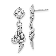 Stainless Steel Antiqued & Polished w/ CZ Snake Dangle Post Earrings