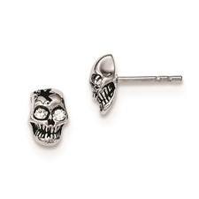 Stainless Steel Antiqued and Polished with Crystal Skull Post Earrings