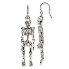 Stainless Steel Polished w/ Crystal Shepherd Hook Skeleton Earrings