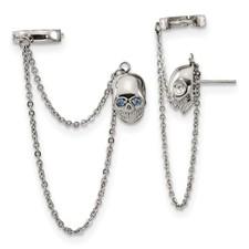Stainless Steel Polished Double Earrings w/Hoop Chain Dangle & Blue CZ Post