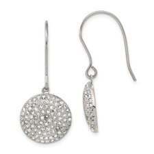 Stainless Steel Polished w/ Preciosa Crystal Circle Earrings