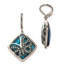 Stainless Steel Blue Glass and Preciosa Crystal Butterfly Earrings