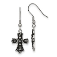 Stainless Steel Antiqued Blk Crystal Cross Shepherds Hook Earrings