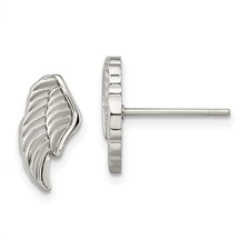 Stainless Steel Polished Angel Wing Post Earrings