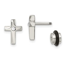 Stainless Steel Polished CZ Cross Post Earrings