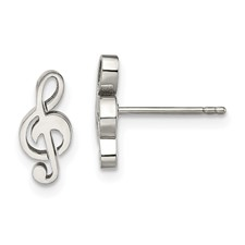 Stainless Steel Polished Music Symbol Post Earrings