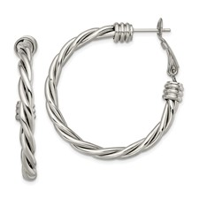 Stainless Steel Polished Twisted Hoop Earrings