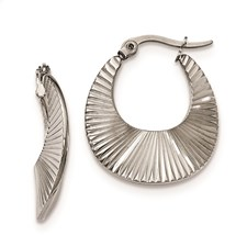 Stainless Steel Polished and Textured Hoop Earrings