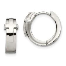 Stainless Steel Polished Hinged Hoop Earrings