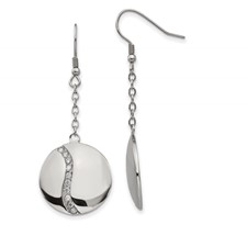 Stainless Steel Polished w/ CZ Dangle Shepherd Hook Earrings