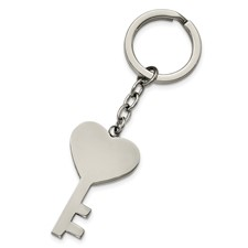 Stainless Steel Polished Key with Heart Key Ring