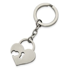 Stainless Steel Polished Heart-shaped Lock Key Ring