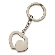 Stainless Steel Polished Double Heart Key Ring