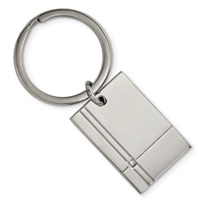 Stainless Steel Polished Grooved with CZ Key Chain