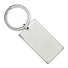 Stainless Steel Brushed & Polished 1.85mm Rectangle Reversible Key Chain