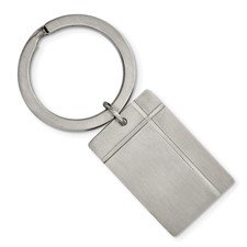 Stainless Steel Brushed & Grooved Key Chain