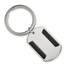 Stainless Steel Polished w/Black Carbon Fiber Inlay Key Chain