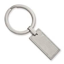 Stainless Steel Polished and Textured Rectangular Key Ring