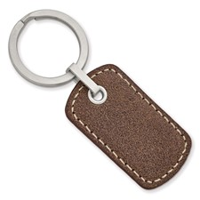 Stainless Steel Brushed Tan Stitched Leather Key Ring