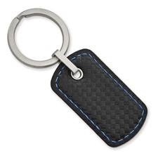 Stainless Steel Brushed Leather & Carbon Fiber Stitched Key Ring