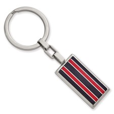 Stainless Steel Polished Black and Red Fiber Glass Key Chain