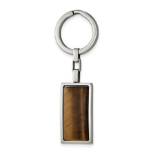 Stainless Steel Polished Tiger's Eye Key Ring