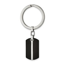 Stainless Steel Brushed and Polished Black IP-plated Key Ring