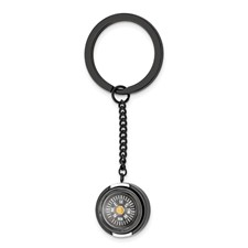 Stainless Steel Polished Black IP-plated Functional Compass Key Ring