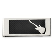 Chisel Stainless Steel Polished Black Carbon Fiber Inlay Guitar Money Clip