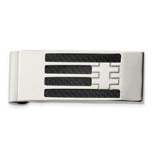 Stainless Steel Polished Carbon Fiber Inlay Money Clip