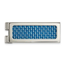 Stainless Steel Polished with Blue Carbon Fiber Inlay Money Clip