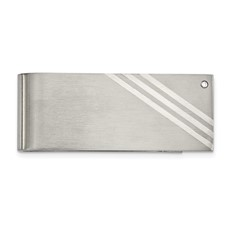 Stainless Steel Sterling Silver Inlay Brushed w/ CZ Money Clip