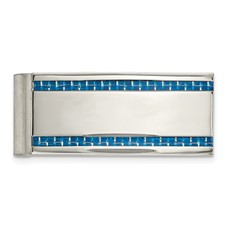Stainless Steel Polished Blue Carbon Fiber Inlay Money Clip