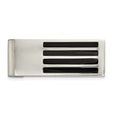 Stainless Steel Polished/Brushed Black Enamel Money Clip