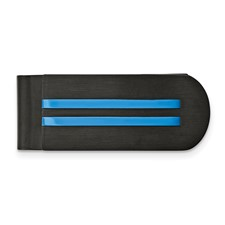 Stainless Steel Brushed and Polished Black/Blue IP-plated Money Clip