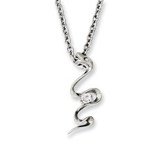 Chisel Stainless Steel Polished Snake Swirl with CZ 18 inch Necklace