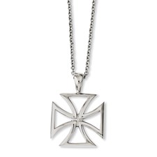 Chisel Stainless Steel Polished Cross Pendant 18 inch Necklace