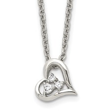 Chisel Stainless Steel Heart with CZs Pendant 18 inch Necklace