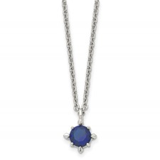Chisel Stainless Steel Blue CZ Pendant 18 inch Necklace